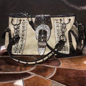 Handbags - Rhinestone Buckle Cream Western Handbag